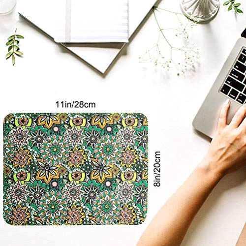 Mouse Pads 2 Pack - PU Leather & Cork Mouse pad, Floral & Black Mouse Pad Mat, Natural Cork Base, Stitched Edge, Writing Mousepad for Laptop, Computer, Office & Home Photo #5