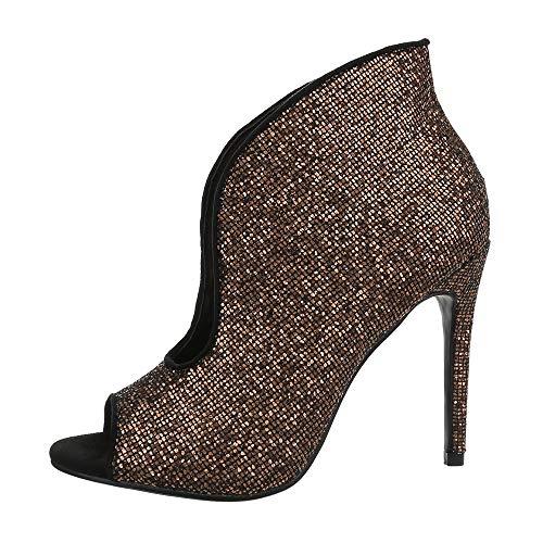 Ital-Design Damenschuhe Stiefeletten High Heel Stiefeletten Synthetik Bronze Gr. 39