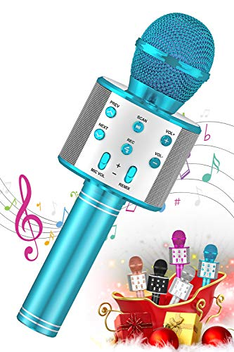SEATANK Bluetooth Karaoke Microphone for Kids Toys, Wireless Portable Karaoke Machine, Handheld Mic Speaker Christmas Birthday Party for Kids Gifts Android/iPhone Compatible (858 Blue)
