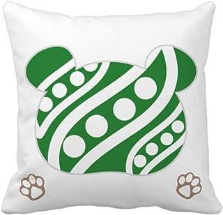 OFFbb-USA - Funda cuadrada para almohada con diseño de oso de expresión vegetal