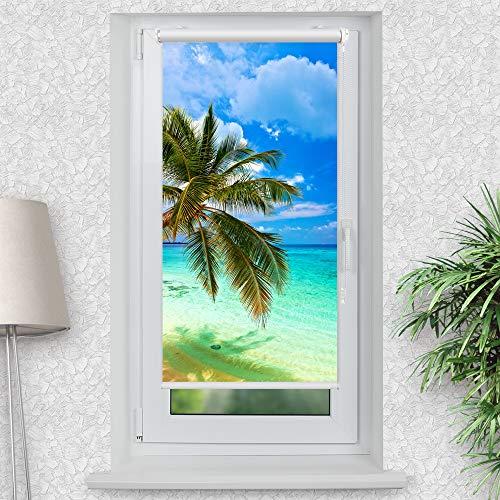 La-Melle » Rollo Palme Meer   Verschiedene Größen   Klemmrollo ohne Bohren   auch für Wand- oder Deckenbefestigung, Größe: B 60 x H 120 cm