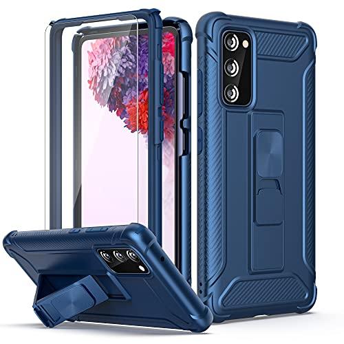 ORETECH Coque Compatible avec Samsung Galaxy S20 FE avec 2 x Protecteur D'écran en Verre Trempé,Coque S20 FE Antichoc Etui Samsung S20 FE Housse Anti Rayure PC TPU avec Béquille Intégré Blue foncé