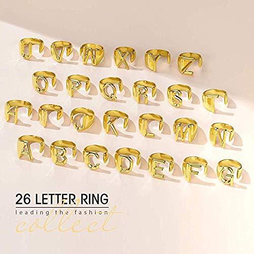 CTDMMJ Minimalistische weibliche Brief Metall Ring Charm Silber Gold gefüllt Verlobungsring Eröffnung Eheringe für Frauen-Rose Gold Farbe_U