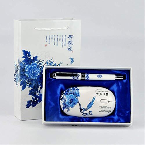 Veer, porselein, blauw en wit, draadloos, Chinese stijl, kleine geschenken, creatieve accessoires.
