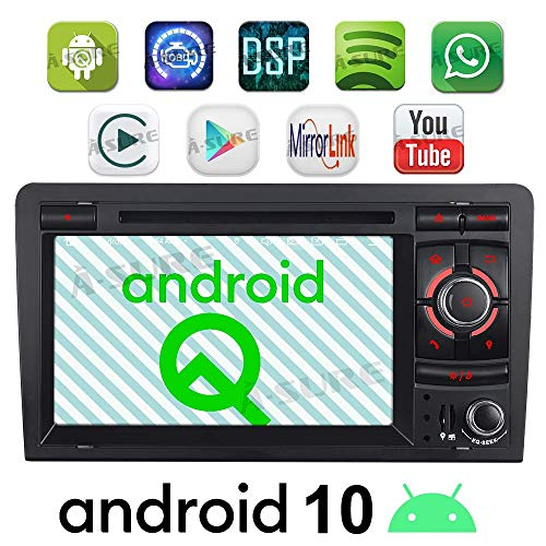 Junhua Eingebautes Carplay DSP Android 10 Autoradio DVD GPS Navigation Navi Radio Bluetooth DAB+ WiFi OBD Mirrorlink 4G LTE TPMS Lenkrad IPS für Audi A3 S3 RS3 8P 8V 8PA