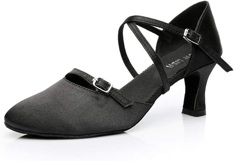 Cici shoes Women Ballroom Dancing shoes Salsa Sandals Latin Dance Practice shoes, Black Satin with Rhinestones