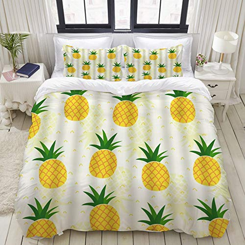 Dodunstyle Duvet Cover,Tropical Pineapple Watercolor Yellow Fruit Exotic Green Leaves Summer,Bedding Set Ultra Comfy Lightweight Microfiber Sets