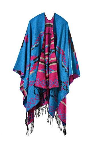 YACUN Damen Offener Poncho Schal Winter Reversible überdimensioniert Decke Quaste Cape Schals Blau F