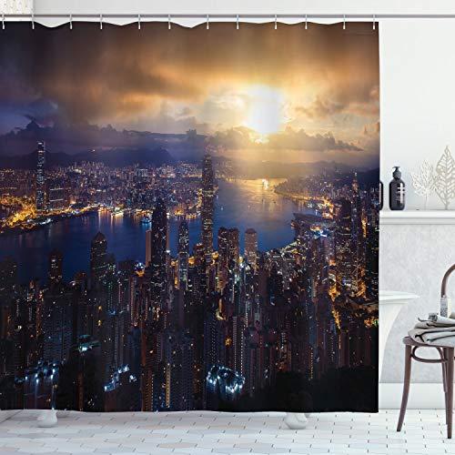 "Ambesonne Urban Shower Curtain, Aerial Skyline of Night Victoria Peak Hong Kong City Skyscrapers Metropolis Image, Cloth Fabric Bathroom Decor Set with Hooks, 70"" Long, Yellow Blue"