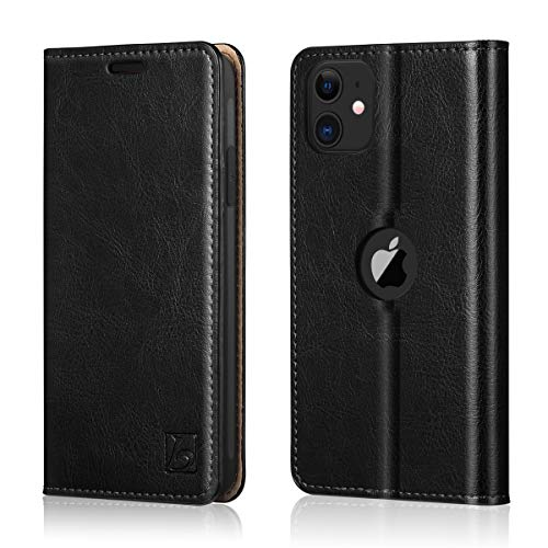 Belemay iPhone 11 Wallet Case, iPhone 11 Case, [Genuine Cowhide Leather Case] Slim Fit Folio Book Flip Cover Card Holder Slots, Kickstand Function, Cash Pockets Compatible iPhone 11 (6.1-inch), Black