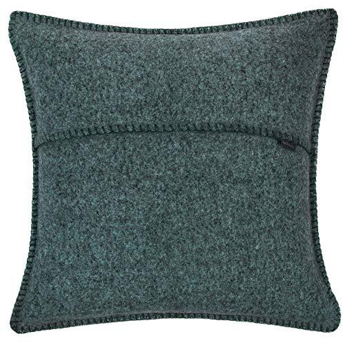 Soft-Wool-Kissenbezug – mit Häkelstich – weiche, hochwertige Sofa-Kissenhülle aus Naturmaterialien – 50x50 cm – 790 deep pacific – von 'zoeppritz since 1828'