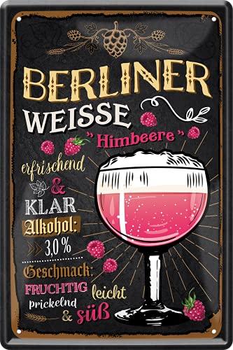 schilderkreis24 Targa in metallo con ricetta di birra 'Berliner Weisse lampone, decorazione da cucina, bar, birra, bar, bar, bar, bar, alcol idea regalo di compleanno, Natale, 20 x 30 cm