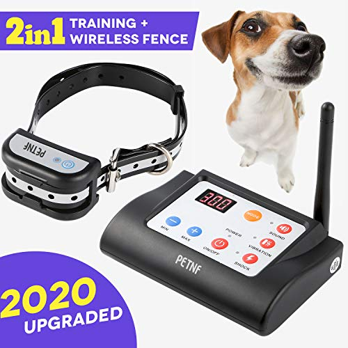 Wireless Dog Fence Outdoor,Electric Training Collar & Pet Containment System 2 in 1 for Dogs, Safe...