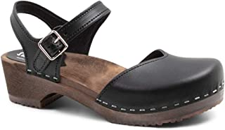Swedish Wooden Low Heel Clog Sandals for Women | Saragasso