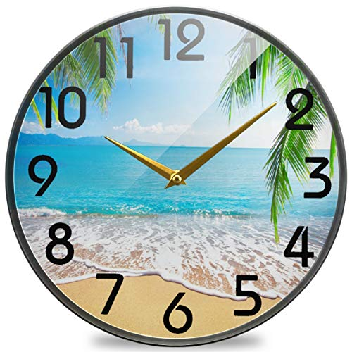 Naanle 3D Beautiful Summer Beach Ocean Palm Trees Print Round Wall Clock, 9.5 Inch Silent Battery Operated Quartz Analog Quiet Desk Clock for Home,Office,School,Library