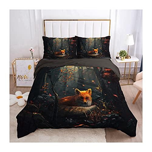 YXLM - Juego de ropa de cama con funda de edredón y fundas de almohada, diseño de zorro, 135 x 200 cm