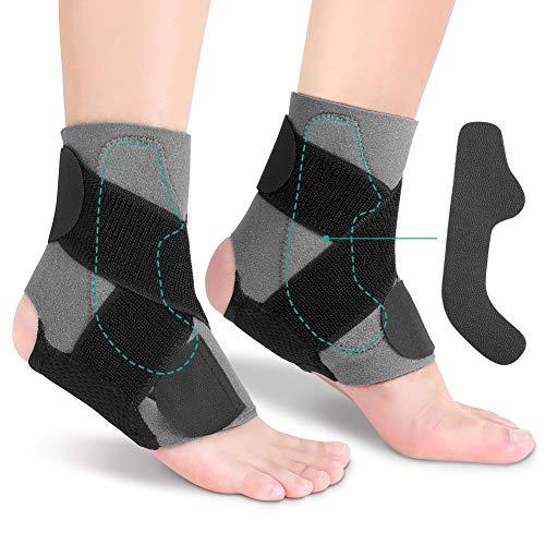 Tobillera para Tendinitis, Soporte de Tobillo Ajustable con Placa de PE para Estabilizar la Fuerza para la Recuperación de Lesiones, Alivio del Dolor Crónico de Tobillo, Artritis, Tendinitis, 1 Par