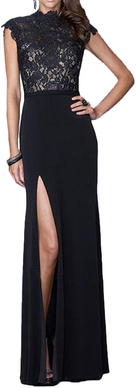 Avril Dress Side Slit High Collar Lace Cap Shoulder Prom Evening Dress Long 2016