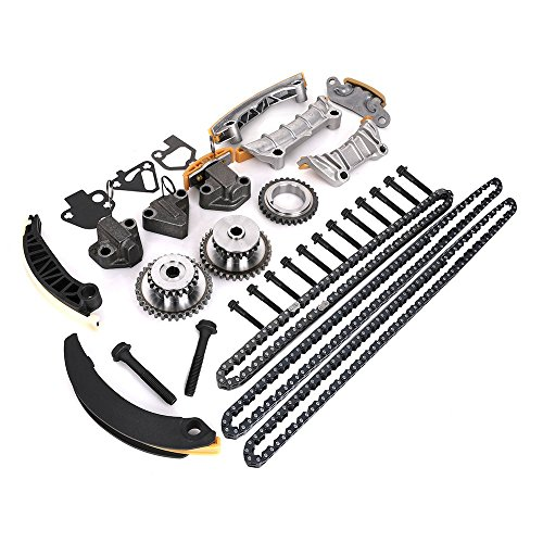 Engine Timing Chain Kit w/Chain Guide Tensioner Sprocket, Fit for 3.0L 3.6L V6 Buick Enclave Lacrosse Cadillac CTS SRX Chevy Equinox Malibu Traverse GMC Acadia, Replace # 9-0753S