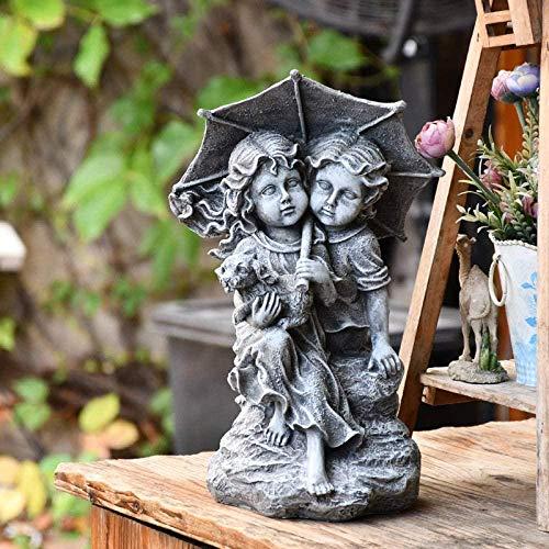 HTRN Junge Mädchen Paar Auf Felsen Mit Regenschirm Garten Harz Skulptur Statue Dekorative Verzierung