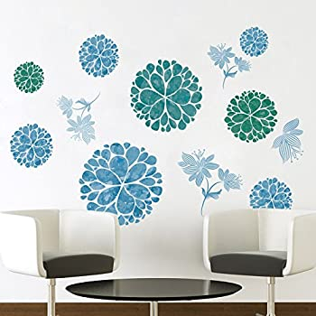 Amaonm Creative Removable 3D Light Blue Dream Flower Wall Sticker Peel Stick Home art Decor Nursery Floral Wall Decal for Girls Bedrom Living Room Kids Rooms Bathroom Walls