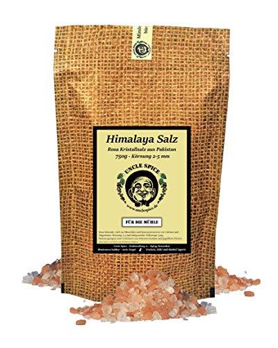 Uncle Spice rosa Himalaya Salz, 750g pink Himalayasalz Gourmetsalz aus Pakistan, Steinsalz, Kristallsalz reich an Mineralien, grobes Salz für die Mühle, pink salt, Geschenkidee