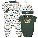 NFL Green Bay Packers 3 Pack Bodysuit Sleep n Play Footie Cap Registry Gift Set, blue/white Green Bay Packers, 0-3M
