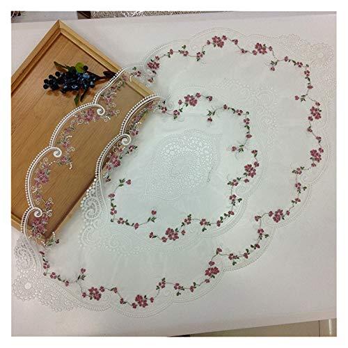 Clhbaih Manteles Bordado de Encaje Europeo Hueco Ovalado de Lujo de Lujo Sala de Estar Mesa de café sofá apoyabrazos Cubierta Banquete Banquete Fiesta tapete (Color : White, Specification : 45x73cm)