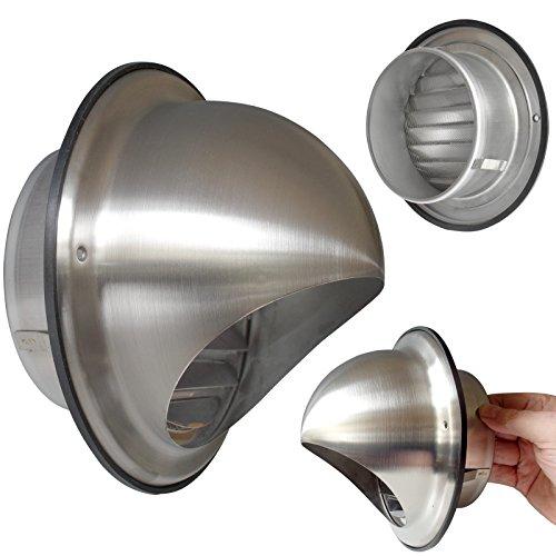 Roestvrijstalen afzuigkap Kogelvormige kap Ø 150 mm Ventilatierooster Bladen met fijn rooster Weerbescherming Model: VLA-150