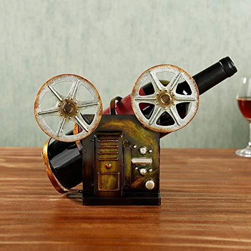 El estante del vino NaNa estante del vino de la vendimia de hierro forjado cámara botellero barra de armario de viento industrial decoración de la habitación sala de ornamentos vivir, Bronce (5.1 * 4.