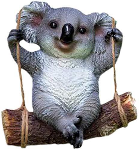 JJDSN Columpio Colgante Koala Adornos Resina Koala Estatuilla Estatua de jardn Micro Paisaje Escultura al Aire Libre para decoracin de casa de muecas Bonsai