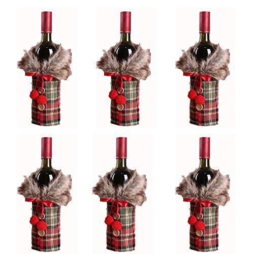 Fauge 6 fundas para botella de vino de Navidad, bolsa de vino para regalo de Año Nuevo, decoración de Navidad, fiesta de Navidad, color rojo