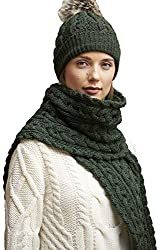 travel scarf for winter Irish cable knit scarf merino wool