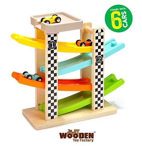 The Wooden Toy Factory – Circuit De Voiture Click Clack avec 6 Voitures - Comprend Un...