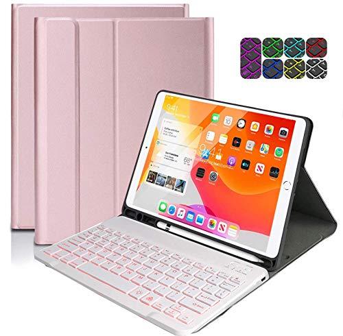 Keyboard Case for iPad, 10.2 Bluetooth Backlight Keyboard for iPad 2020/2019 8th/7th Gen, Wireless Keyboard Fast-Charging, Detachable BT Keyboard for iPad 10.2'/ iPad Air 3/ iPad Pro 10.5 - Rose Gold
