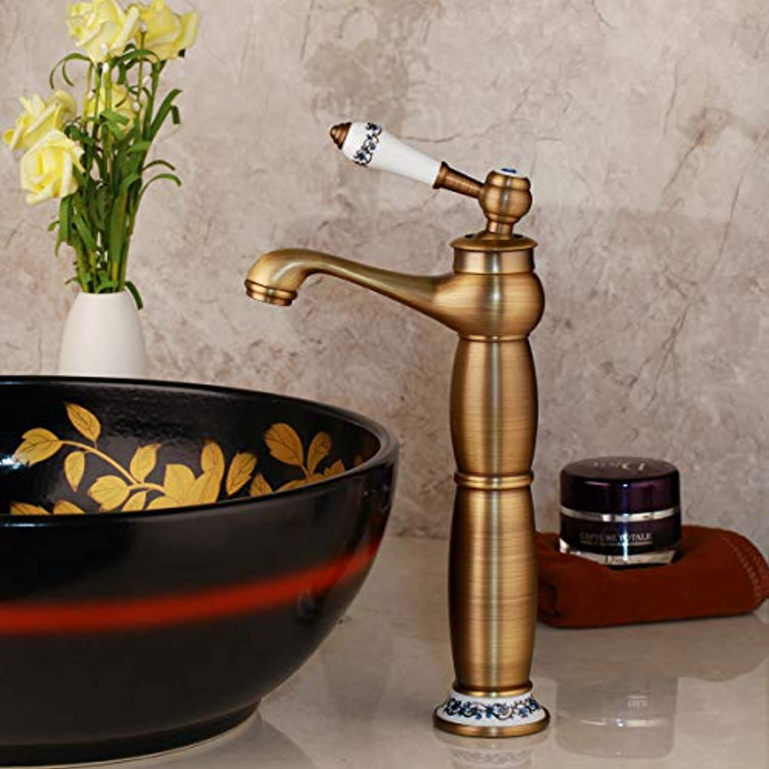 Bad Wasserhahn Tall Antique Basin Mixer Bad Faucets Single Handle Single Hole Cold & Hot Water Tap Antike Messinglange