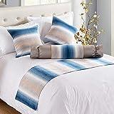 bedding w hotel - W-PLEIY Bed Decorative Scarf Bed Scarf Extra Throw Bedding Family Hotel Decorative Bedspread Blue Strips 50X240cm