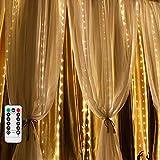 Cortina de luces LED para exteriores, funciona con pilas, 2 m x 2 m IP65 resistente al agua, 200 ledes, cortina de cadena de luces para Navidad