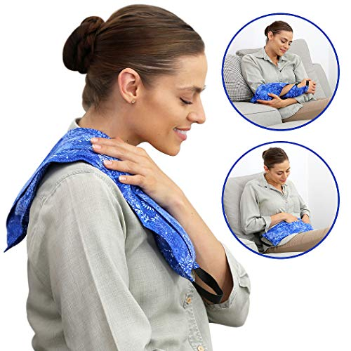 Heating Pad- 3Pockets Microwaveable Hot Pack – Hot Pockets for Body Comfort - Hot & Cold Therapy – Washable Hot & Cold Pack (Blue Flowers)