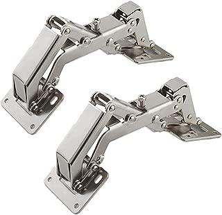 Qrity 2X Pack of Big Kitchen Cabinet Door Hinges Cupboard Door 170 Degree Hinges + 16 Fixing Screws - Large Angle Door Hinges - No Slot Required - Easy to Install