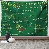 Lunarable Mathematik Room Tapisserie King Size, grüne Tafel mit farbiger Formel & geometrischen Skizzenen, Wandbehang, Tagesdecke, Wanddekoration, 264,2 x 223,5 cm, Smaragdgrün