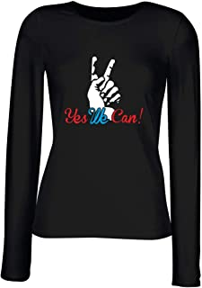 T-Shirt para Las Mujeres Manga Larga Negra T0057 Yes We Can Politica