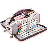 Estuche de Lápices, Bolsa de lápiz Organizador de papelería, Bolsa de cosméticos, Estuche para lápices gran capacidad de 3 compartimentos, Multifuncional Lápices Bolsa Pencil Case para mujer
