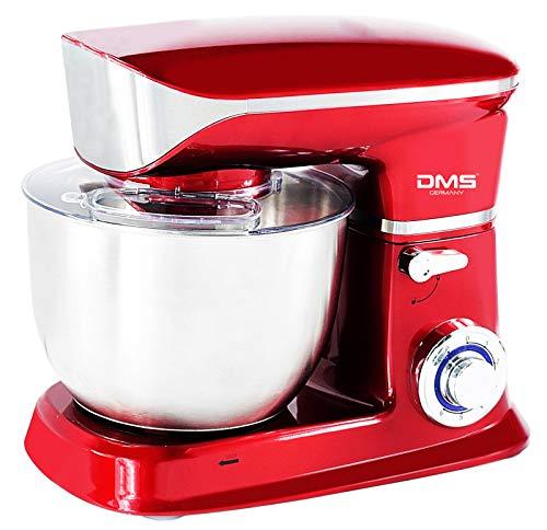 Küchenmaschine Rührmaschine Knetmaschine Teigkneter Edelstahlschüssel Spritzschutz 6-stufige Geschwindigkeit 6 L, 1900 Watt max. DMS® (Rot)