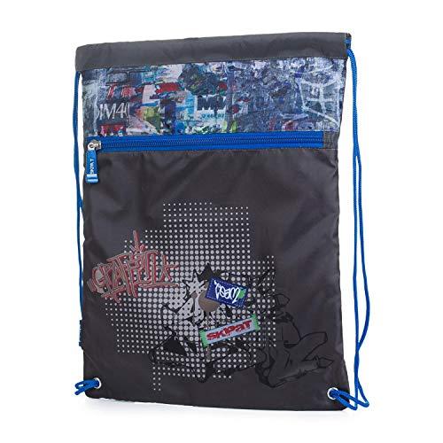 SKPAT - Mochila saquito Cierre Fruncido. Gymsack Bolsa Multifuncional. Muy cómoda y Ligera. Ideal para Deporte, Gimnasio, Ciclismo, Bicicleta. Cremallera Delantera. 53941, Color Gris