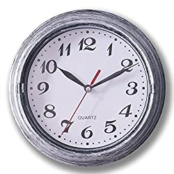 Decorative Silent Wall Clock Non-Ticking 8 Inches Quartz Battery Operated Decor Wall Clock Vintage Silver Metalic Looking Large Number Easy to Ready for Home School Hotel Office (Silver)