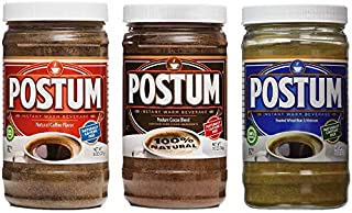 Postum Coffee Alternative 3 Pack (Wheat Bran & Molasses, Natural Coffee, Hot Cocoa) | Caffeine Free Instant Coffee Substit...