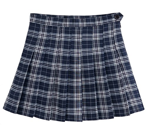 Ourlove Fashion Girl's Short Pleated School Skorts for Teen Girls Tennis Scooters Sport Skirts(TagM,Navy(Plaid)