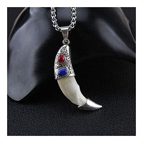 FKJSP Collar Amuleto Colgante de Moda Punk de los Hombres Lobo Valiente Colgante, Collar de Hombres de Las Mujeres de Lucky joyería clásica del colmillo Diente (Metal Color : Style1)