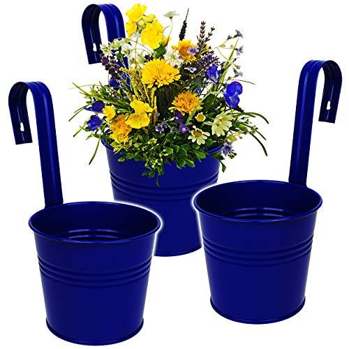 alles-meine.de GmbH 3 Stück _ Hänge - Blumentöpfe / Hängetöpfe / Pflanzschale - Metall - royal blau - Ø 17 cm - RUND - Hängend / mit Haken & Halterung - Aufhängen - groß - mit He..